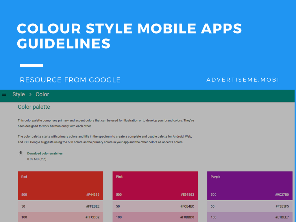 COLOUR STYLE MOBILE APP GUIDELINES