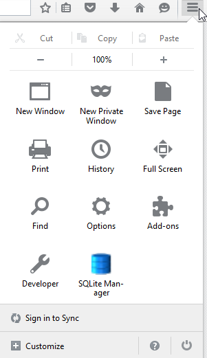 SQLite Manager Firefox Icon Launch