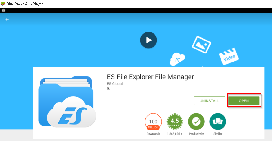 File Manger ES File Explorer Open