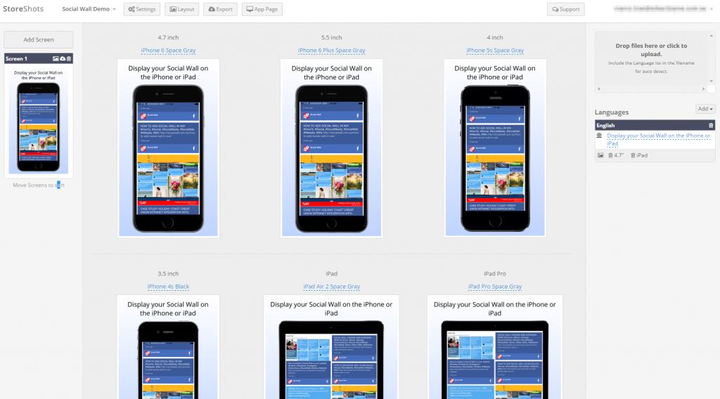 Social Wall Screenshots StoreShots