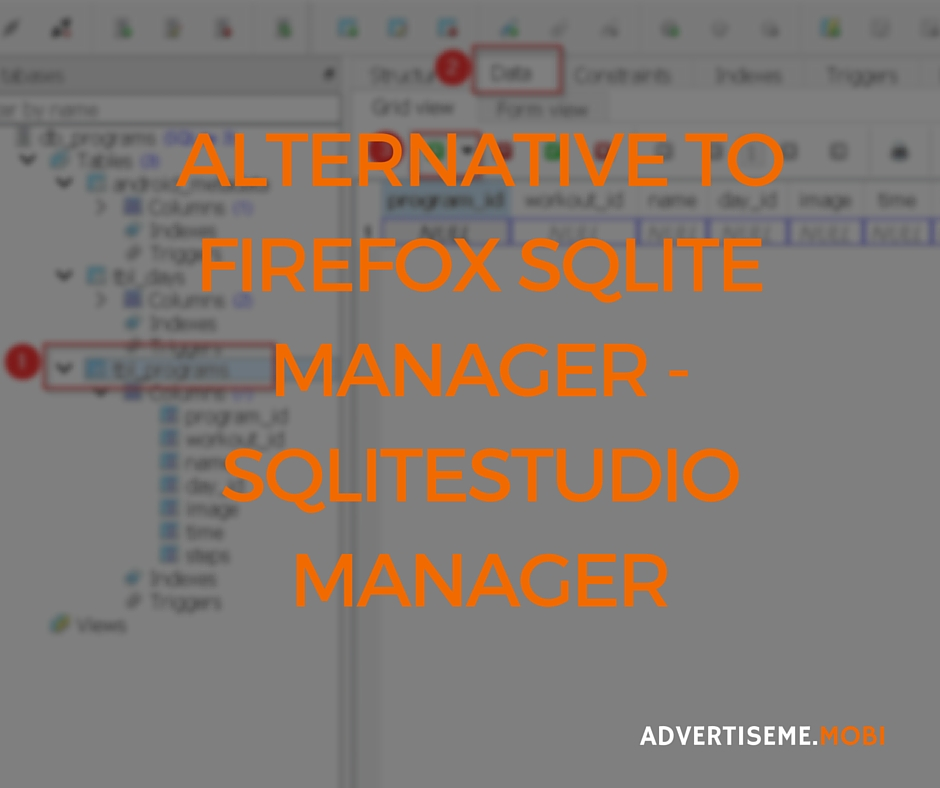 Alternative to Firefox SQLite Manager SQLiteStudio Manager Header