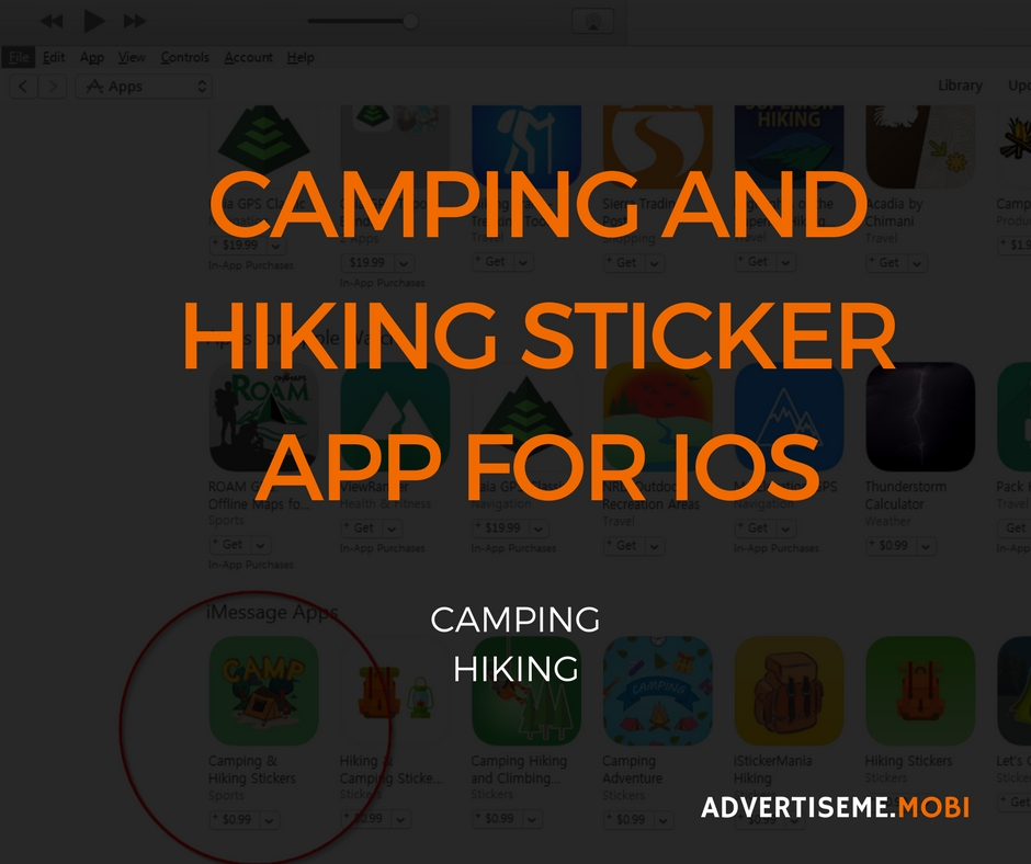 CAMPING AND HIKING STICKER APP FOR IOS